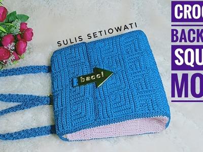 Crochet    crochet backpack    square motif
