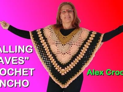 "CROCHET VIRUS GRANNY PONCHO ""FALLING LEAVES"" crochet tutorial any yarn hook size Alex Crochet"
