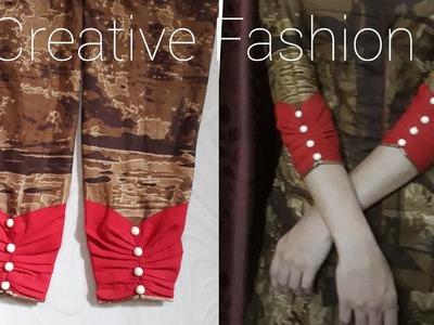 Designer Cuff Sleeve Pattern Tutorial.हिंदी मे।