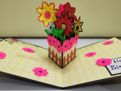 Diy beautiful birthday card   flower pop up card   handmade birthday card   flower pop up card ideas