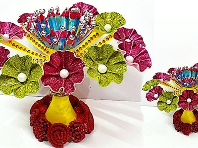 DIY-Guldasta.flower vase from plastic bottle & glitter sheet at home | DIY Foam Flower Guldasta