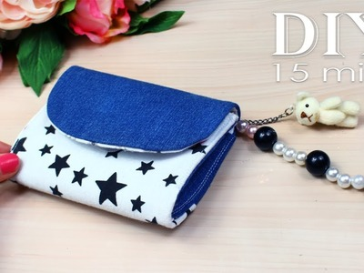 DIY MINI POUCH AWESOME DESIGN. Handmade Purse Wallet Jeans Recycle