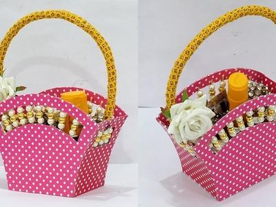 DIY Paper Basket : How to Make Easy Cardboard Basket for Chocolates | Gift Basket