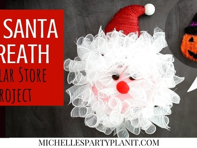DIY Santa Wreath made from a Dollar Tree Halloween Decoration | Craft With Me