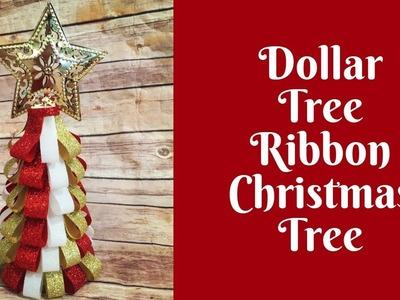 "Dollar Tree Christmas Crafts: Ribbon Christmas Tree- Use 4"" Pieces of Ribbon"
