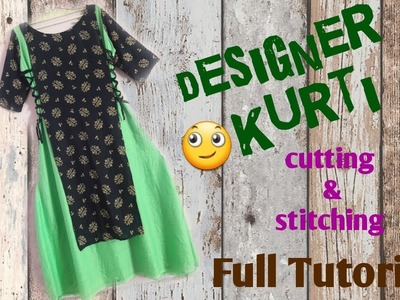 Double layer designer and beautiful kurti Full Tutorial easy way. by simple cutting