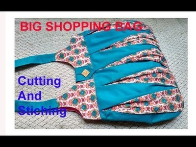 EASY. . handmade big shopping bag. lunch bag. handbag cutting and stitching in hindi.Travel Bag