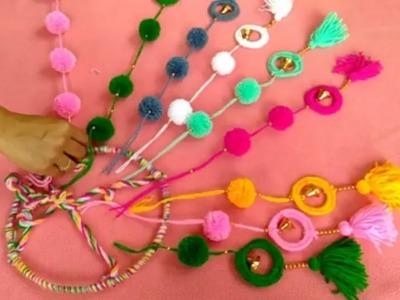 Easy Woolen Carft Idea \\ Wall Hanging Toran From Bengls Baby \DlY = Toran Craft From Waste Bengls