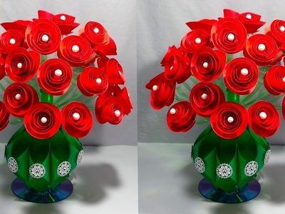 GULDASTA.DIY.NEW DESIGN PAPER FLOWER GULDASTA.WASTE PLASTIC BOTTLE FLOWER POT.VASE.ROSE GULDASTA