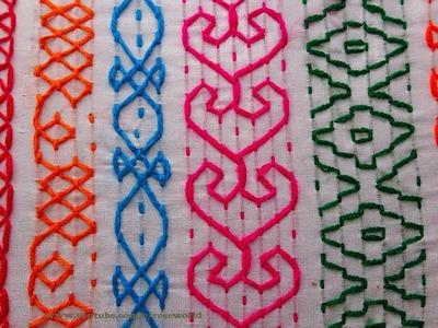 Hand Embroidery Bangladeshi Traditional nakshi kantha border part - 2 border stitch