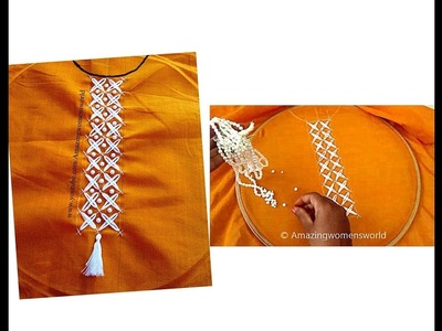 Hand Embroidery : Chicken Scratch Stitch, Neck Churidar.  Tops. Border Design # 6 - Hand Stitches