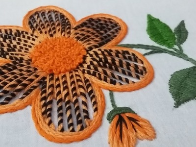Hand embroidery of a flower with a new way