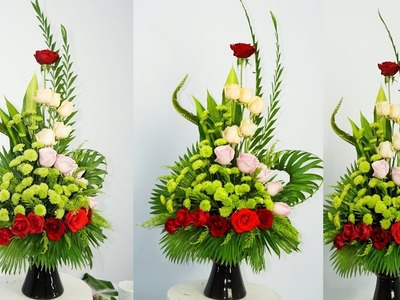 How To Arrange Flowers, Roses Flower MIX GREEN Chrysanthemum ?  87