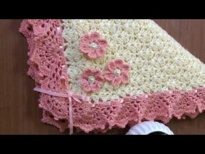 How to Crochet a Baby Blanket - Linda Sabanita Tejida en Crochet con Flores y Listón o Lazo ???? ???? ????