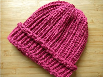 How to Crochet beanie hat Adults Ladies hat tutorial - Designed by Happy Crochet Club