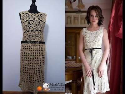 How to crochet elegant beige dress easy pattern tutorial all sizes