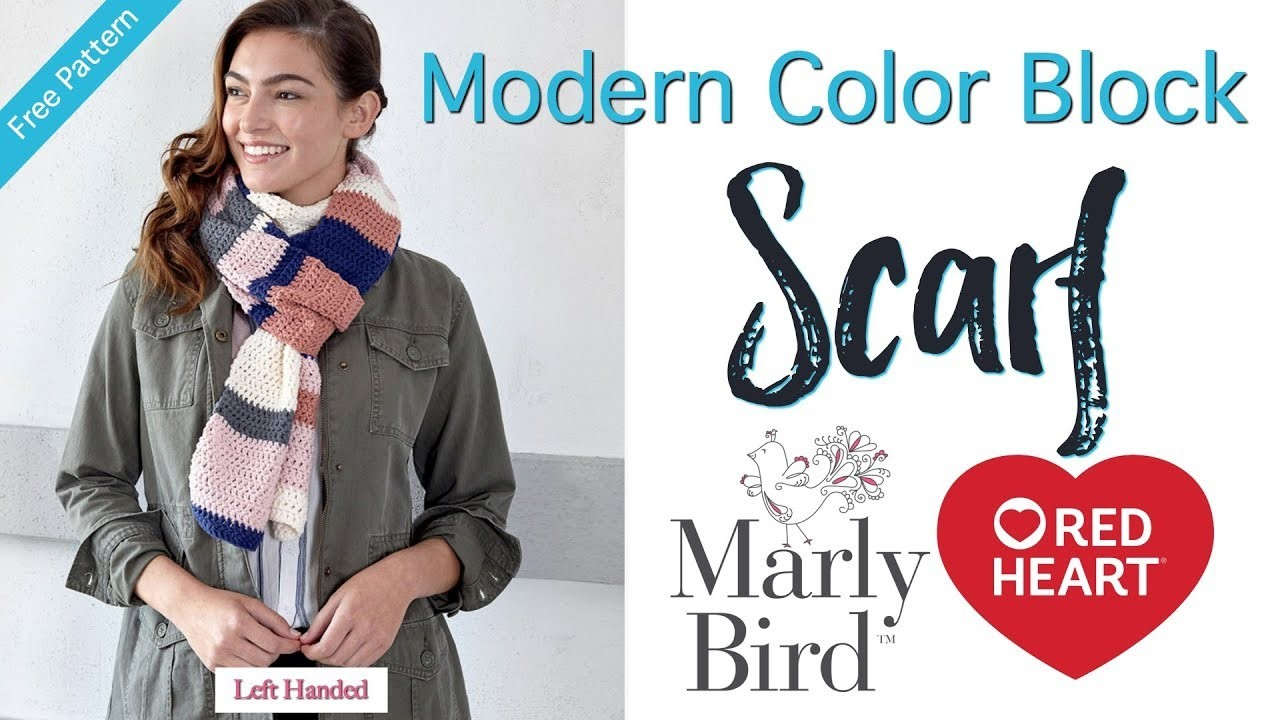 How to Crochet Modern Color Block Scarf [Left Handed]