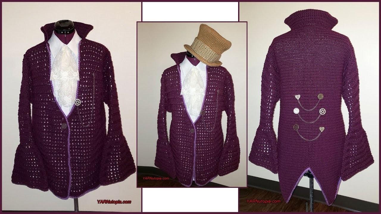 How to Crochet Tutorial: DIY Steampunk Cardigan Jacket by YARNutopia