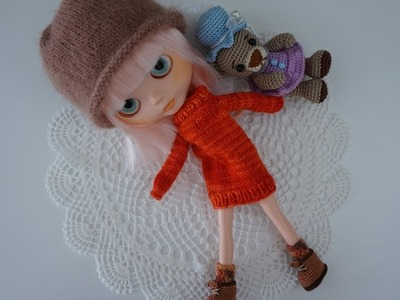 How to knit little jumper. doll sweater. Blythe doll clothe