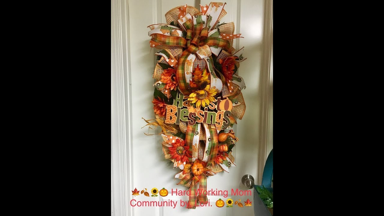 How to make a Fall Swag with an evergreen base and burlap basketweave mesh