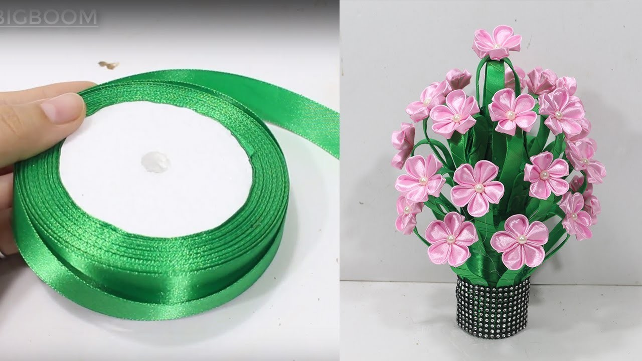How to make flower vase with ribbon   unique idea   DBB