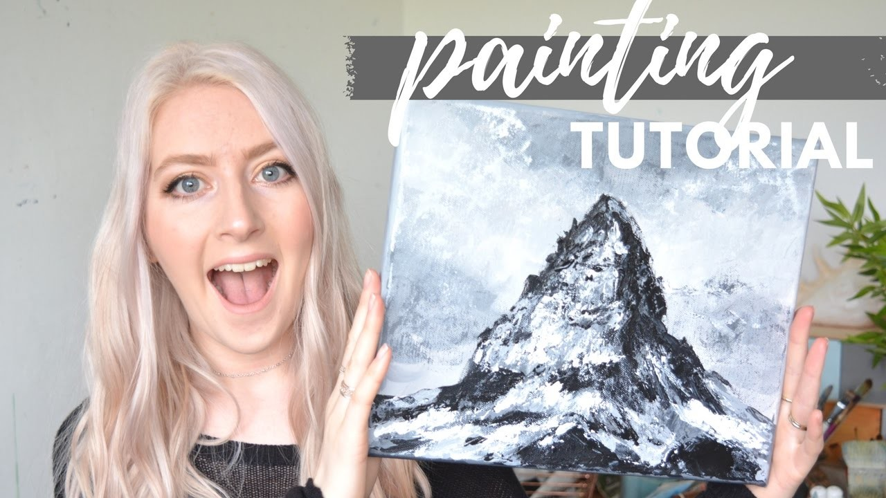 How to PAINT MOUNTAINS in only Two Colors | Acrylic Tutorial