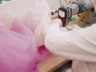 In the making: our spring spinel dip dye tulle gown