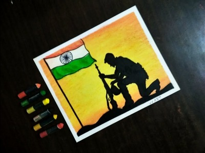 Independence Day Specially !! Beginners and kids Oil Pastel drawing !! Step by step
