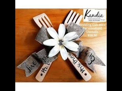 Personalized Wood Utensils: Wedding Gift For Sale Or Kit Available! #WeddingGift #Kandia #DollarTree