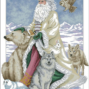 Polar Bear Santa Cross Stitch Pattern***LOOK***X***INSTANT DOWNLOAD***