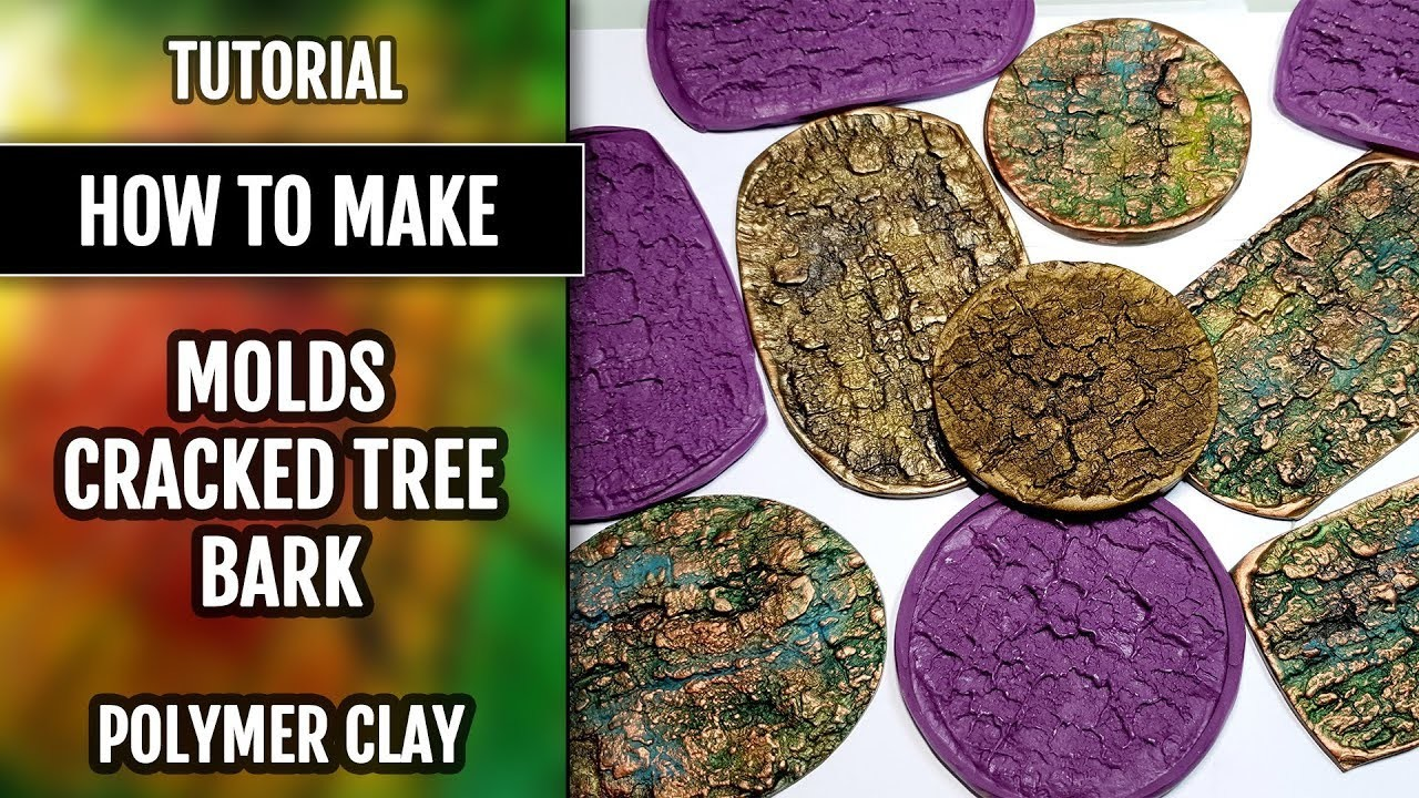 "Quick Video: How to USE my handmade silicone ""Cracked Tree Bark"" Textures! Polymer clay!"