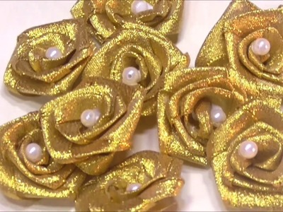 RIBBON ROSES- HOW TO MAKE RIBBON ROSES FOR DECORATIONS