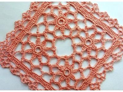 Сrochet square with flower. Квадрат с цветами для скатерти
