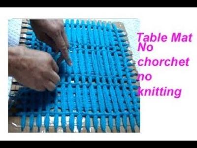 बिना सिलाई बिना कोरसिआ से बनाय woolen flower Table mat. floor mat.thaal posh.recycle wool
