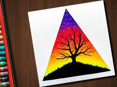 Tree scenery drawing with Oil Pastels - step by step