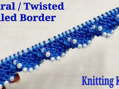 Twisted. Spiral. Coiled Knitted Border With Beads. Very Simple, Easy and Beautiful.