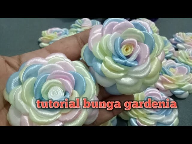 12# tutorial bunga gardenia || how to make gardenia flower from ribbon