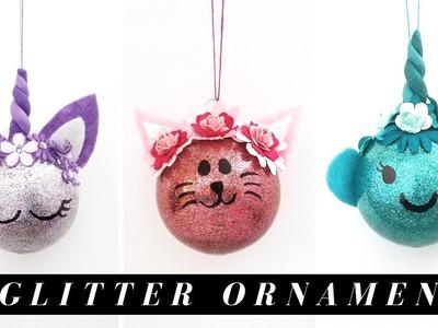 3 DIY Dollar Tree Glitter Ball Ornament Ideas  - Narwhal, Kitty, & Unicorn
