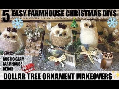 5 Easy DOLLAR TREE FARMHOUSE CHRISTMAS DIYS????ORNAMENT MAKEOVERS RUSTIC GLAM FARMHOUSE DECOR