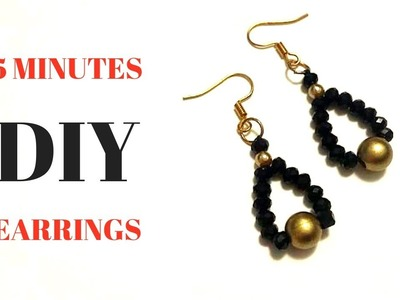 5 minutes diy earrings. Beginner beading tutorial. Beaded earrings