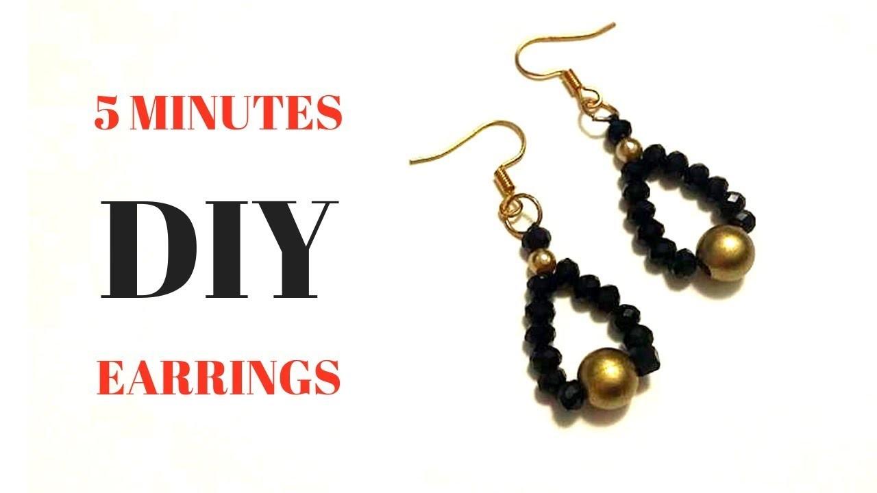 5 minutes diy earrings. Beginner beading tutorial. Beaded earrings