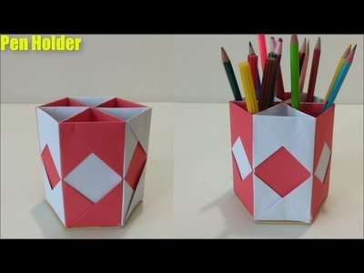 Art & Crafts,How to Make Pen Stand | Origami Pen Holder | Paper Pencil Holder | Hexagonal Pen Holder