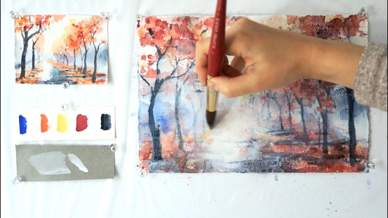 Autumn Alley. Step by step watercolor tutorial. Part 2