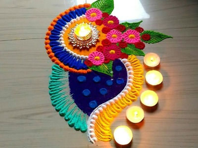 Beautiful & innovative rangoli for Diwali.Dasara.dasehara rangoli design