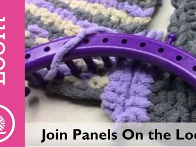 Bernat Blanket Stitch Along Clue #5 Loom Demo (Joining panels on a loom) Replay from Live recording