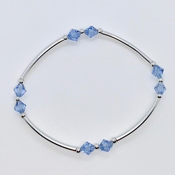 Blue Bicone Bead and Silver Bar Bracelet