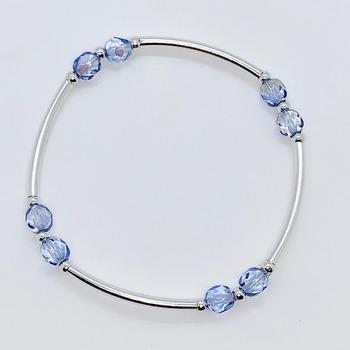 Blue Czech Bead and Silver Bar Bracelet