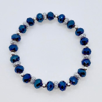 Blue Faceted and Silver Rhinestone Rondelle Bead Bracelet