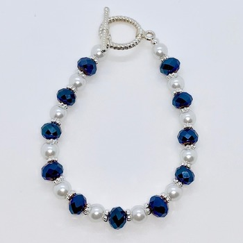 Blue Faceted Bead and White Pearl Bracelet