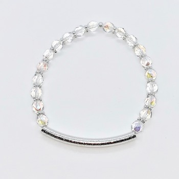 Clear Iridescent Czech Bead and Silver Bead Bracelet